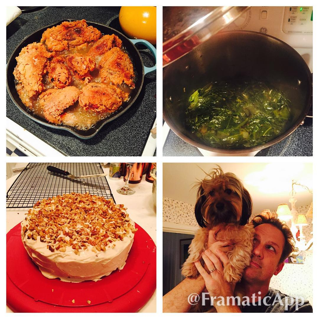 Fried chicken collard greens carrot cake husband and Mabes fatandhappyhellip